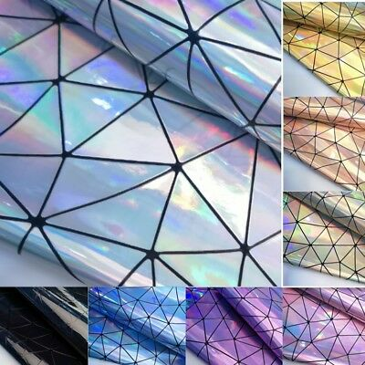 Hologram Geometrical Iridescent Faux Leather Sheet Leatherette Fabric Crafts Bag