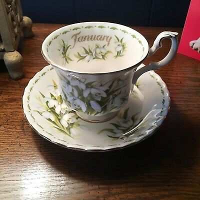 Royal Albert January flower of the month snowdrop fine bone china Cup & saucer