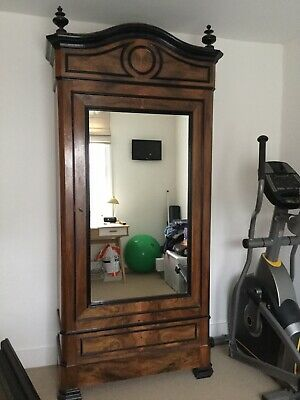 French Antique 19th Century Linen Press Mirrored Cupboard With Shelves