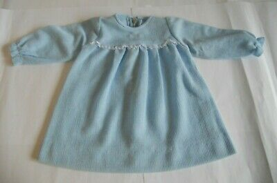 Handmade Vintage Children's Long Sleeve Top/ Baby Gown - Blue Polyester