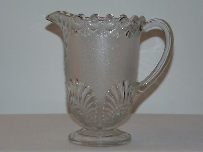 "ANTIQUE EARLY CANADIAN PRESSED GLASS 8 1/2"" TALL WATER PITCHER JUG c. 1910"