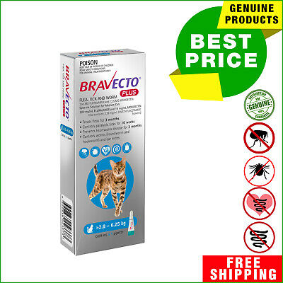 BRAVECTO PLUS for Cats BLUE Pack 1 Pipette 2.8 to 6.25 Kg Heartworm Control