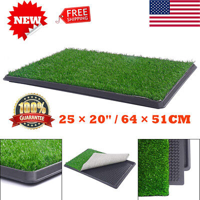 """25×20""""Dog Pet Potty Toilet Trainer Grass Mat Puppy Training Patch Pad Tray Turf"""
