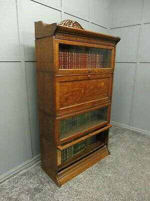 Antique Oak Stacking Lawyers Bookcase With Desk