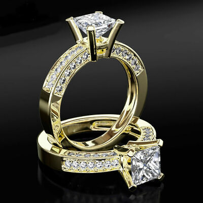 2 Ct Si1 Princess Diamond W Accents Real 18K Yellow Gold Engagement Women Ring