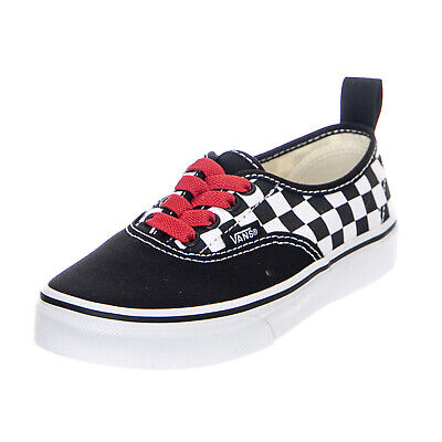 847ccd737a Vans Authentic Elastic Checkerboard Black White Red Sneakers Basse Bambino  Nero