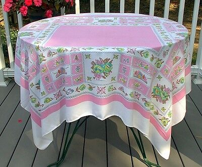 Vintage Print Tablecloth White Pink Green Yellow Brown Flowers Cutter