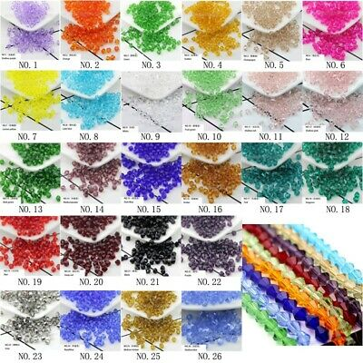 Bicone Spacer Glass Crystal Loose Beads 4mm 6mm 8mm Assorted DIY Jewelry Beads