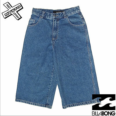 Billabong 'Carpenter' Boys Denim Shorts Long Baggy Blue Age 12 Surf Bnwt Rrp £36