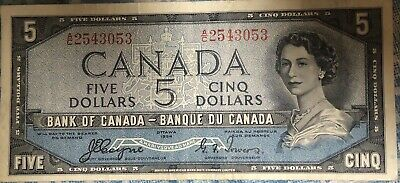 1954 Devil Face Canadian 5 Dollar Bill ~From Fathers Collections~