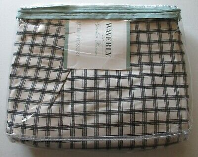 NIP Waverly Garden Room WELLINGTON Queen Bedskirt Farmhouse Black Cream Plaid