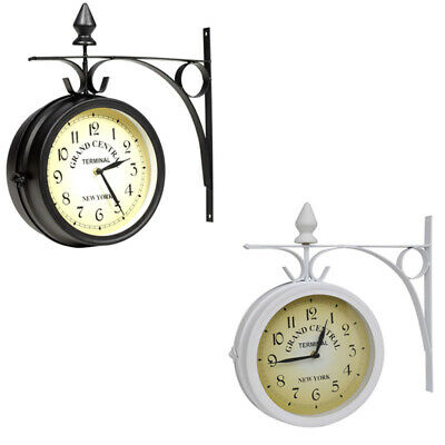 Two Sided Train Station Wall Clock Watch Vintage Retro Home Decor Metal Round