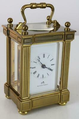 SMALL MATTHEW NORMAN SWISS CARRIAGE CLOCK 8 day SERVICED & WORKING BEAUTIFULLY