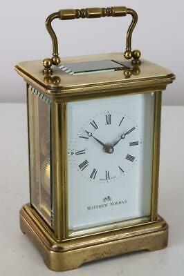 MATTHEW NORMAN SWISS CARRIAGE CLOCK 8 day SERVICED & WORKING BEAUTIFULLY