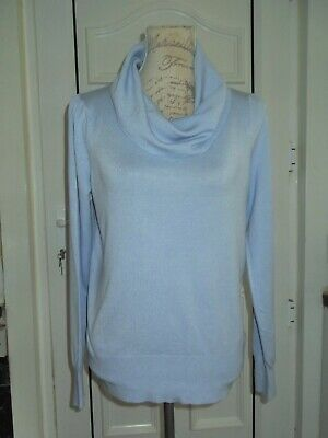 Marks & Spencer Light Blue Cowl Neck Stretch Jumper Size 16