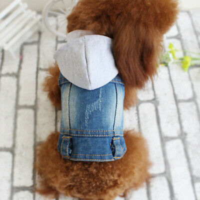 Blue Jean Cat Dog Jacket Denim Coat Small Puppy Hoodie Vest Pet Clothes XS-XXL