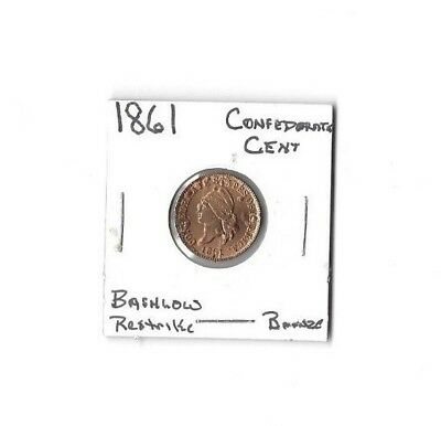 1861  Confederate Cent Restrike  Choic Red Unc