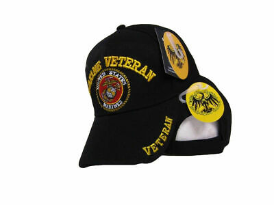 a3f75aeb8 BLACK MARINE HAT Marines Veteran Shadow Embroidered Ball Cap Baseball Cap  USMC