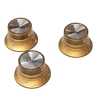 3 Gold-Silver Reflector Cap Knobs 1 Vol 2 Tone Epiphone Top Hat Bell Les Paul Sg