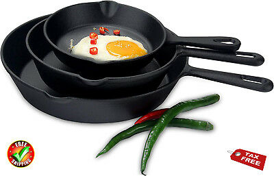 Set 3 Pcs Pre-seasoned Cast Iron Skillet Stove Oven Fry Pans Pots Cookware Pan