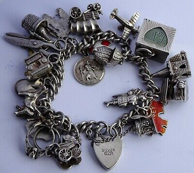 Georg Jensen vintage solid silver charm bracelet & 23 charms. Rare, open, Nuvo