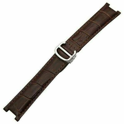 Brown Bracelet 20*12 band Leather alligator pattern fit Cartier Pasha W/Buckle