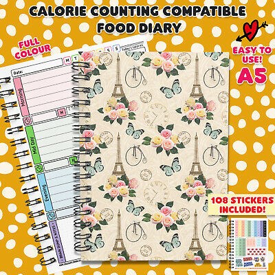 Food Diary Calorie Counting Wellbeing Plan Log Journal Book Notes Fitness Diet M