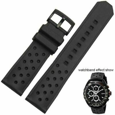 6be6ab01621 Bracelet FOR TAG Heuer rubber band BLACK noir 22mm Formula One chrono  w buckle