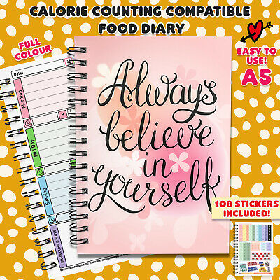 Food Diary Calorie Counting Wellbeing Plan Log Journal Book Notes Fitness Diet L