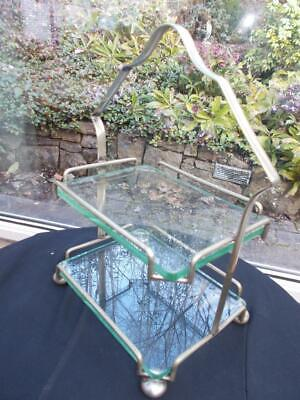 1930S Art Deco Silver Plated & Glass Cake Stand On Large Bun Feet
