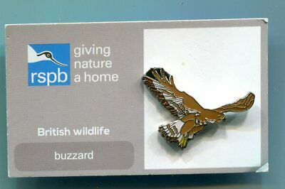RSPB Charity Enamel Pin Badge BUZZARD Mint on Card (AK/10)