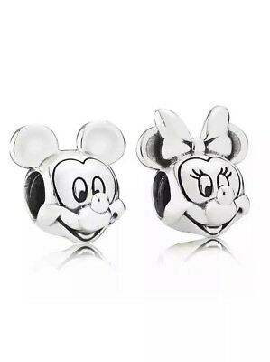 Disney Mickey and Minnie Mouse Silver Charm Bead Stamped Pandora S925 Ale