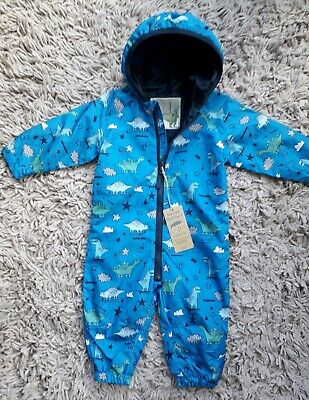Mothercare Baby Boys Puddlesuit Age 6/9 Months Hooded New Bnwt Dinosaurs