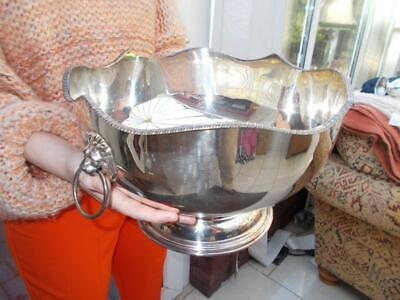 Very Large Silver Plated Punch Bowl, Lions Head Handles 1960S Sheffield Made