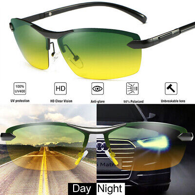 Tac HD Polarized Day & Night Vision glasses Men Driving Pilot Aviator sunglasses