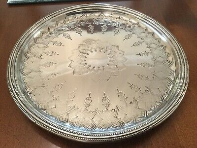 Lovely Antique Victorian Atkin Brothers Silver Plated Chased Footed Drinks Tray