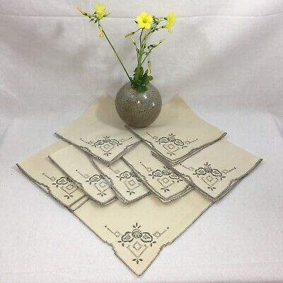 Vtg Beige Linen Cutwork Hand Embroidered Tea, Luncheon, Dinner Napkins Set of 8