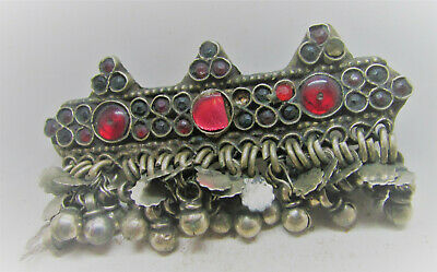 Beautiful Late Medieval Silvered Ottoman Brooch With Stones