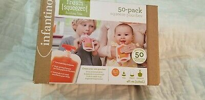 Infantino 50 Pack Squeeze Pouches, Fresh Squeezed, Homemade Baby Food, NIB