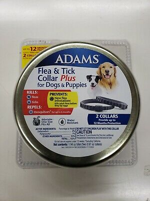Adams Flea and Tick Collar Plus for Adult Dogs and Puppies, Two 6 Month Collars