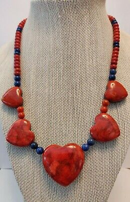 """Jay King Blue Lapis and Ginger Coral Reversible """"Hearts"""" 18"""" SS Necklace NWT"""