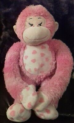 """Build A Bear Pink Monkey with Sounds and Velcro Hands - 18"""" Very Good Condition"""