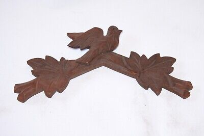 "Vintage Wooden Leaves Birds Cuckoo Clock Parts Top Topper 6 1/8"" #15cj AS IS"