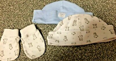 Baby Mits mittens bear and blue set of 3