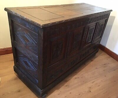 Antique Georgian Solid Carved Oak Coffer Chest With Drawers 18th Century