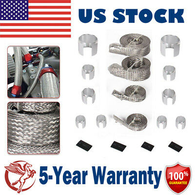 Stainless Steel Engine Braided Dress Up Hose Cover Kit For Radiator Vacuum Fuel