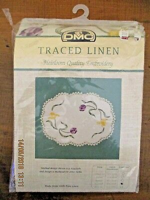 ~Dmc Traced Linen Embroidery Tray Cloth - 69#.1005 - Tulips~