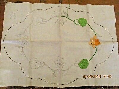 ~Vintage Large Doily/Doilie To Embroider - Linen - Started & Ready To Complete~