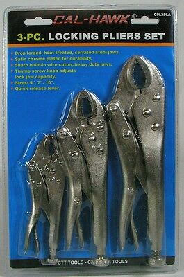 LOCKING PLIERS SET 3pc Curved Jaw Adjustable Vise Grip NEW Chrome Steel Tool HD