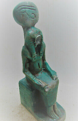 Beautiful Ancient Egyptian Glazed Stone Statuette Of Ra